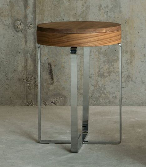 SECRET arrangement table f80 f40 wood walnut chrome 3
